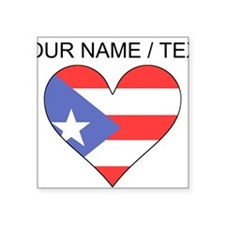 Custom Puerto Rico Flag Heart Sticker