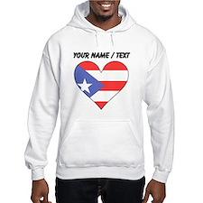Custom Puerto Rico Flag Heart Hoodie