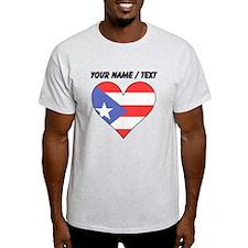 Custom Puerto Rico Flag Heart T-Shirt