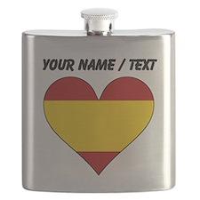 Custom Spain Flag Heart Flask