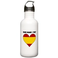Custom Spain Flag Heart Water Bottle