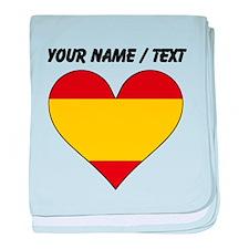 Custom Spain Flag Heart baby blanket