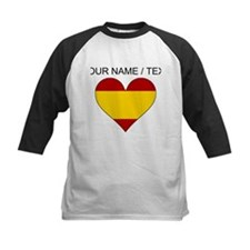 Custom Spain Flag Heart Baseball Jersey