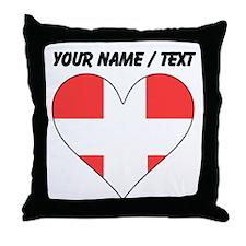 Custom Switzerland Flag Heart Throw Pillow