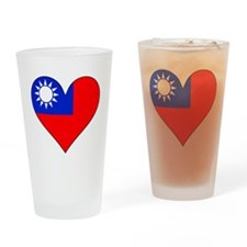 Taiwan Flag Heart Drinking Glass