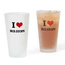 I Love Bus Stops Drinking Glass