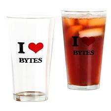 I Love Bytes Drinking Glass