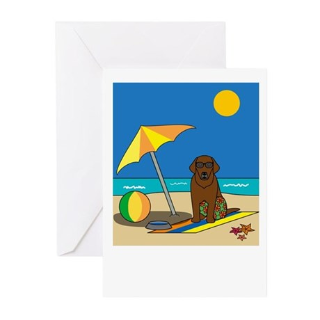 Summer Chocolate Lab Greeting Cards