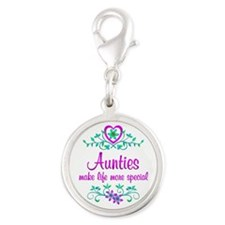 Special Auntie Silver Round Charm