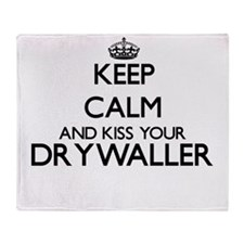 Keep calm and kiss your Drywaller Throw Blanket