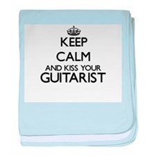 Keep calm and kiss your Guitarist baby blanket