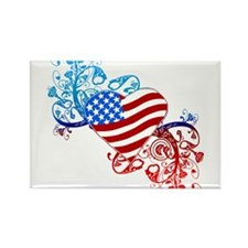 July 4th Heart Scroll Rectangle Magnet (100 pack)