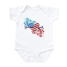 July 4th Heart Scroll Infant Bodysuit