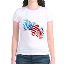 July 4th Heart Scroll T