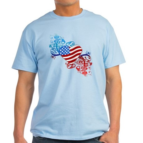July 4th Heart Scroll Light T-Shirt