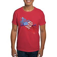 July 4th Heart Scroll T-Shirt