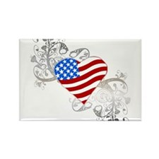 Independence Day Flag Heart Rectangle Magnet