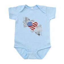 Independence Day Flag Heart Infant Bodysuit
