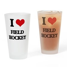 Cute I love field hockey Drinking Glass
