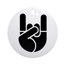 Rock Hand Stencil Ornament (Round)