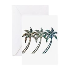 Palm Trees in Paua Shell Textures Greeting Cards