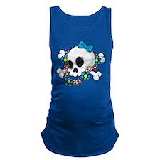 Flower Power Skull Maternity Tank Top