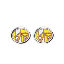 LOVE SOFTBALL STITCH Print Oval Cufflinks