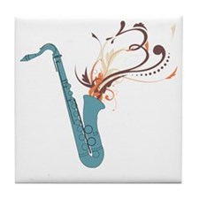 Swirly Saxophone Tile Coaster