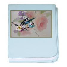 parakeet_rose, love birds baby blanket