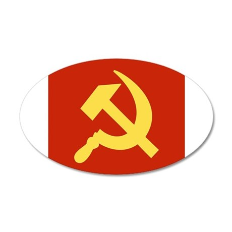 Red Hammer & Sickle 35x21 Oval Wall Decal