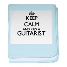Keep calm and kiss a Guitarist baby blanket