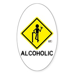 Alcoholic Oval Sticker