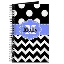 Black Purple Dots Chevron Personalized Journal
