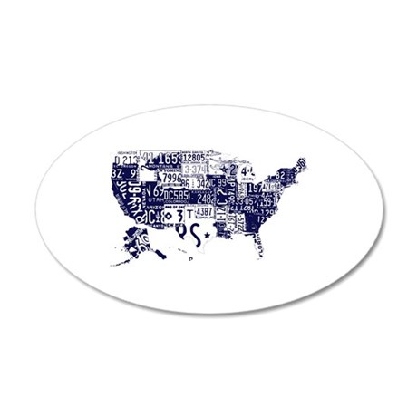 america license 20x12 Oval Wall Decal