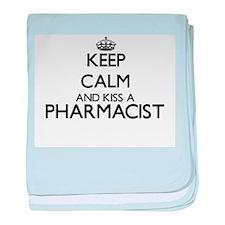 Keep calm and kiss a Pharmacist baby blanket