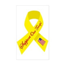 Support Our Troops Ribbon Rectangle Decal