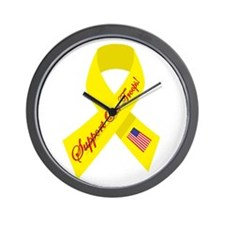 Support Our Troops Ribbon Wall Clock