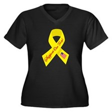 Support Our Troops Ribbon Women's Plus Size V-Neck