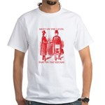 Masons meet on the level-Red White T-Shirt