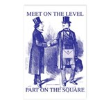 Meeting On the Level - Masonic Blue Postcards (Pa