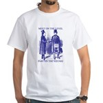 Meeting On the Level - Masonic Blue White T-Shirt