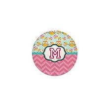 Pink Chevron Owls Monogram Mini Button