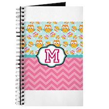 Pink Chevron Owls Monogram Journal