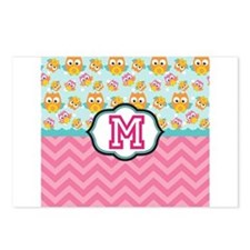 Pink Chevron Owls Monogram Postcards (Package of 8