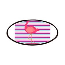 Personalizable Pink Flamingo Stripes Patches