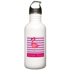Personalizable Pink Flamingo Stripes Water Bottle