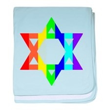 Rainbow Star of David baby blanket