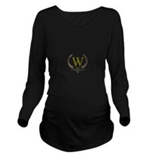 Gold Monogram with Laurels Long Sleeve Maternity T