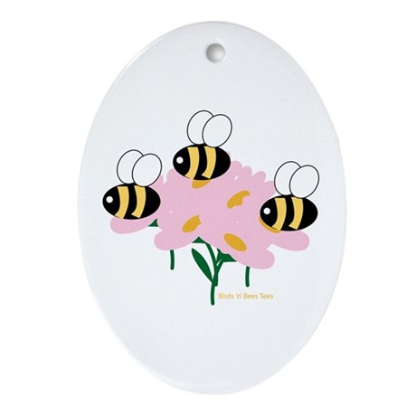 Triplet Bees Oval Ornament