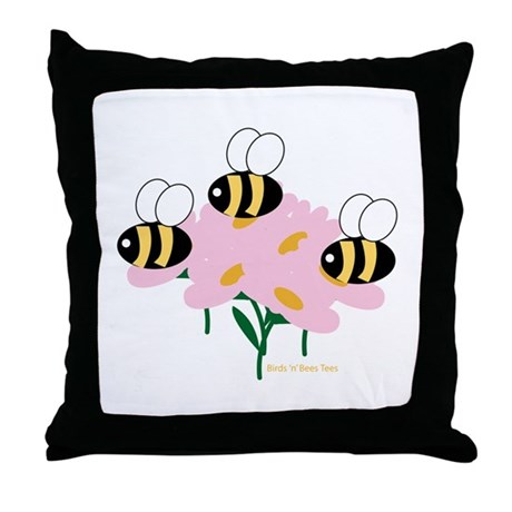 Triplet Bees Throw Pillow